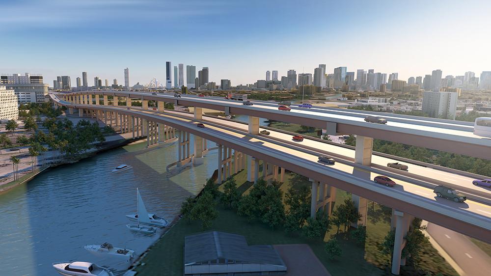 Double-Decked SR 836 over the Miami River