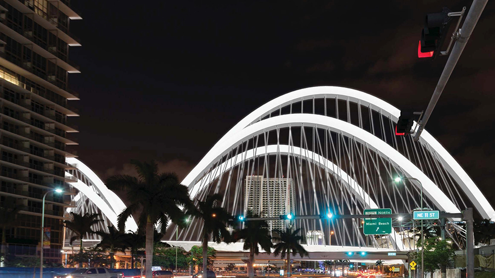 Signature Bridge looking north from the intersection of Biscayne Blvd and NE 11 Street